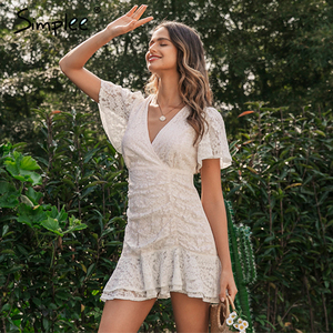 Image 3 - Simplee Women summer lace dress Sexy v neck floral summer cotton white dress A line ladies chic spring drawstring party dress