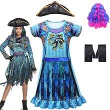 Quente descendentes 3 cosplay uma ursula menina traje pirata mal bertha maleficent cachos halloween carnaval maquiagem festa traje