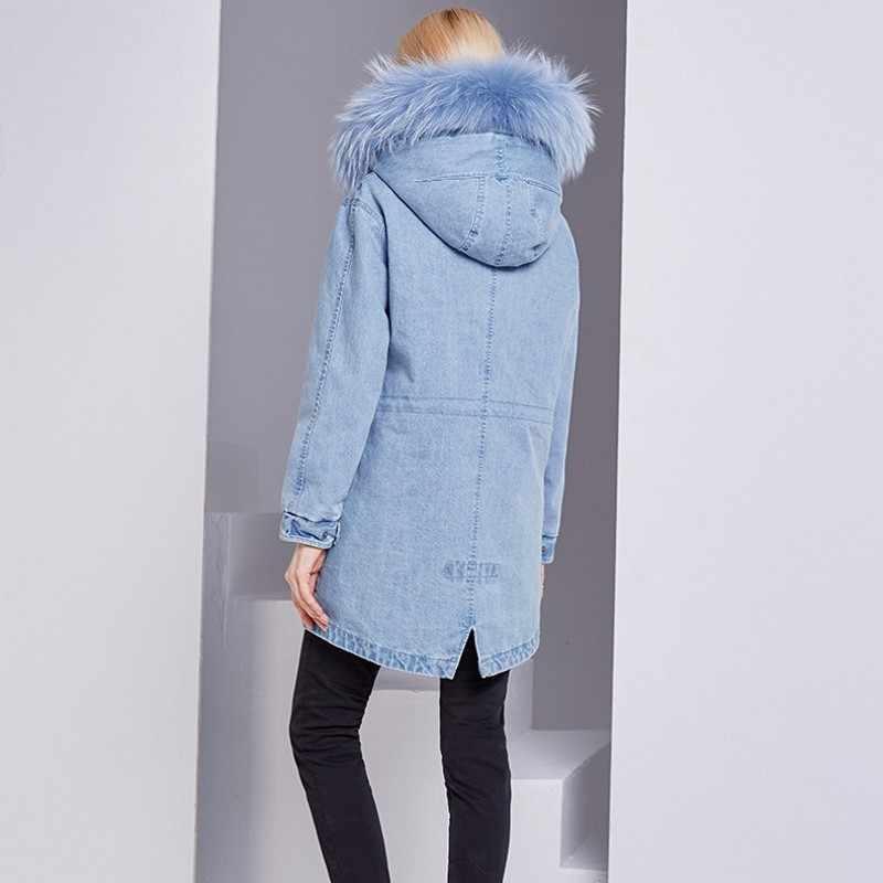 Inverno feminino forro de lã quente namorado solto denim jaqueta de pele de raposa gola com capuz casaco jean senhoras casual streetwear longo jaqueta