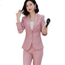 Розовые штаны, Новая Осенняя мода, OL, длинные рукава и брюки, Офисная Женская одежда, рабочая одежда для беременных
