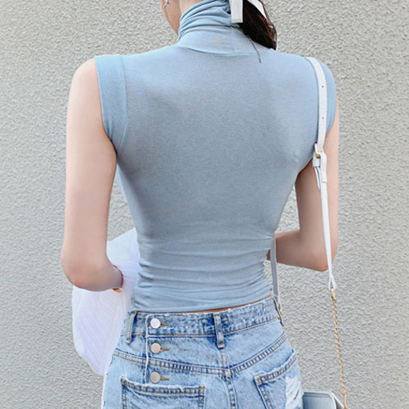 Summer New Modal Corset Tops To Wear Out Sleeveless Turtleneck Tops For Women Korean Casual White Tank Top Women Clothes 11972 2