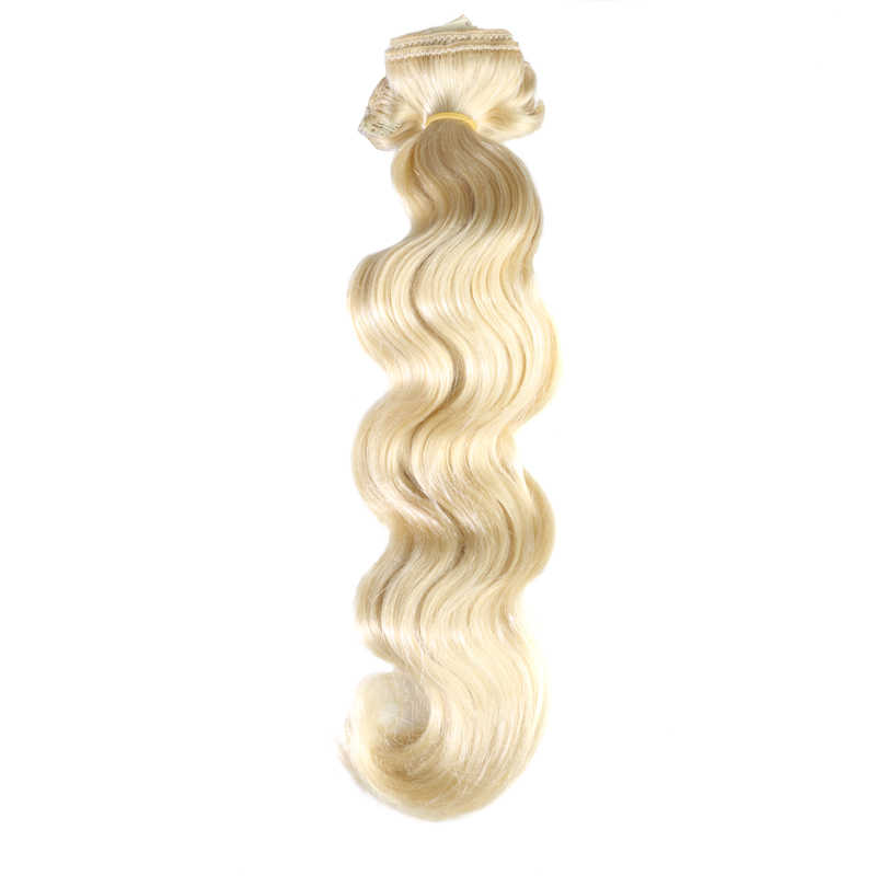 QHP Full Head Brazilian Machine Made Remy Hair #1 #1B #4 #8 #613 #27 #32 Body Wave Clip In Human Hair Extension