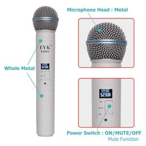 Image 4 - Eyk E3002 Professionele Uhf Karaoke Draadloze Microfoon Systeem Lange Range Dual Metalen Handheld Mic Zender Met Mute Functie