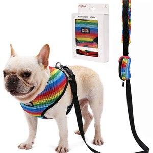 Image 1 - Zestaw smycz i uprząż dla psa z torba na odchody miękka oddychająca Rainbow Mesh buldog francuski kamizelka regulowana smycz do biegania uprząż SP