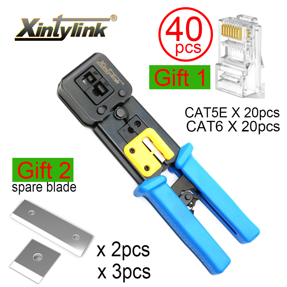 Xintylink ez rj45 ferramentas de rede fio crimper alicates rj12 cat5 rj 45 cabo stripper friso braçadeira pinças clipe multifunções