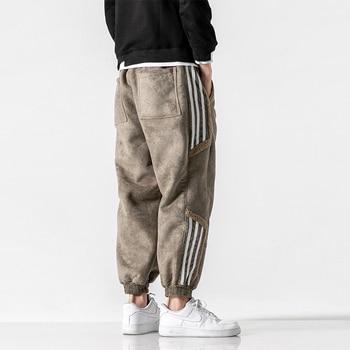 Winter Korean Style Hip Hop Thick Casual Harem Pants Streetwear Fashion Sweatpants Kpop Joggers Men Harajuku Striped Jogging