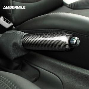 Image 2 - Ambermiles أغطية مقابض فرامل اليد الداخلية للسيارة ، ألياف الكربون لميني كوبر ، R55 ، Clubman R56 ، R57 ، R58 ، R59 ، R50 ، R53 ، الملحقات