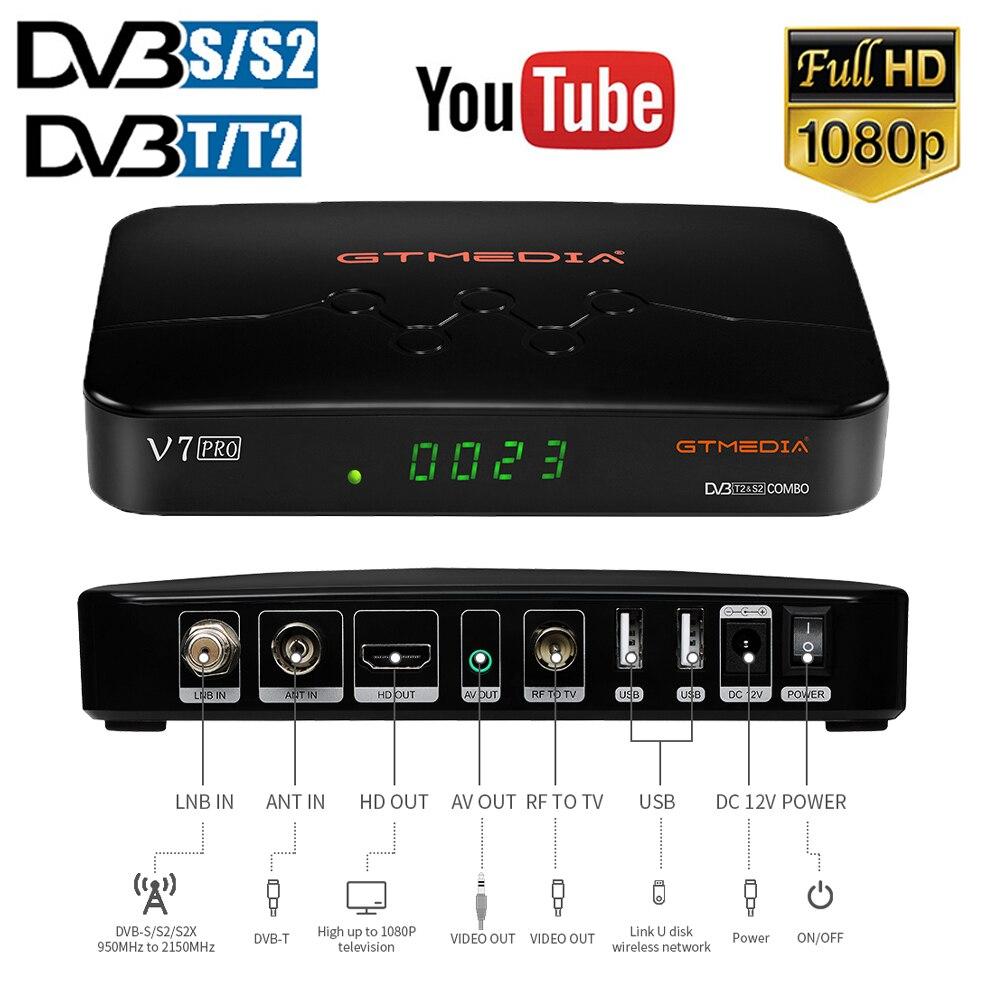 Новое поступление, спутниковый ТВ-приемник GTMEDIA V7 Pro DVB S/S2/S2X/T/T2 с поддержкой USB Wi-Fi, мультипотоковый T2MI PLP для декодера