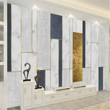Milofi 3D mural modern minimalist geometric golden line mosaic pattern TV background wall(China)