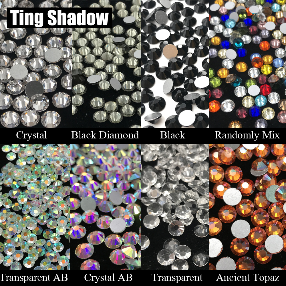 Mix color Transparent AB Crystal Black White Ancient Topaz Glue on Glitter flatback Glass Rhinestones