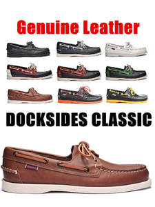 Boat Shoe Flats-Loafers Driving-Shoes Docksides Classic Design Genuine-Leather Women