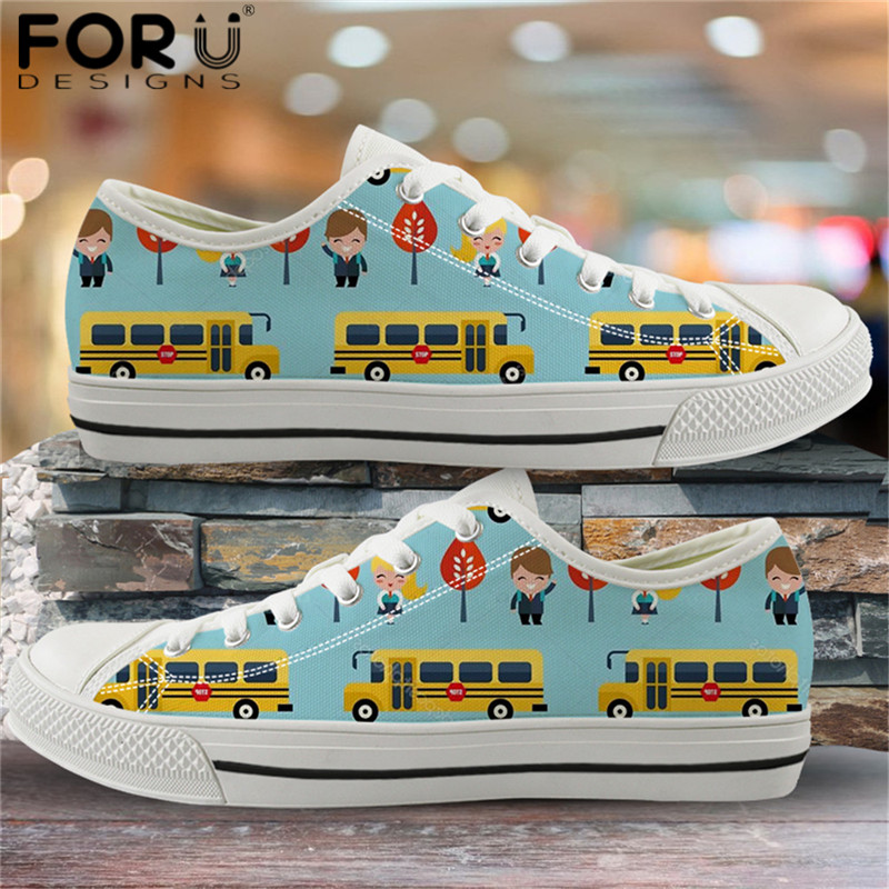 FORUDESIGNS Cartoon School Bus Pattern Canvas Flats Funny Women Print On Demand Vulcanized Shoes Light Lace Up Outdoor Footwear