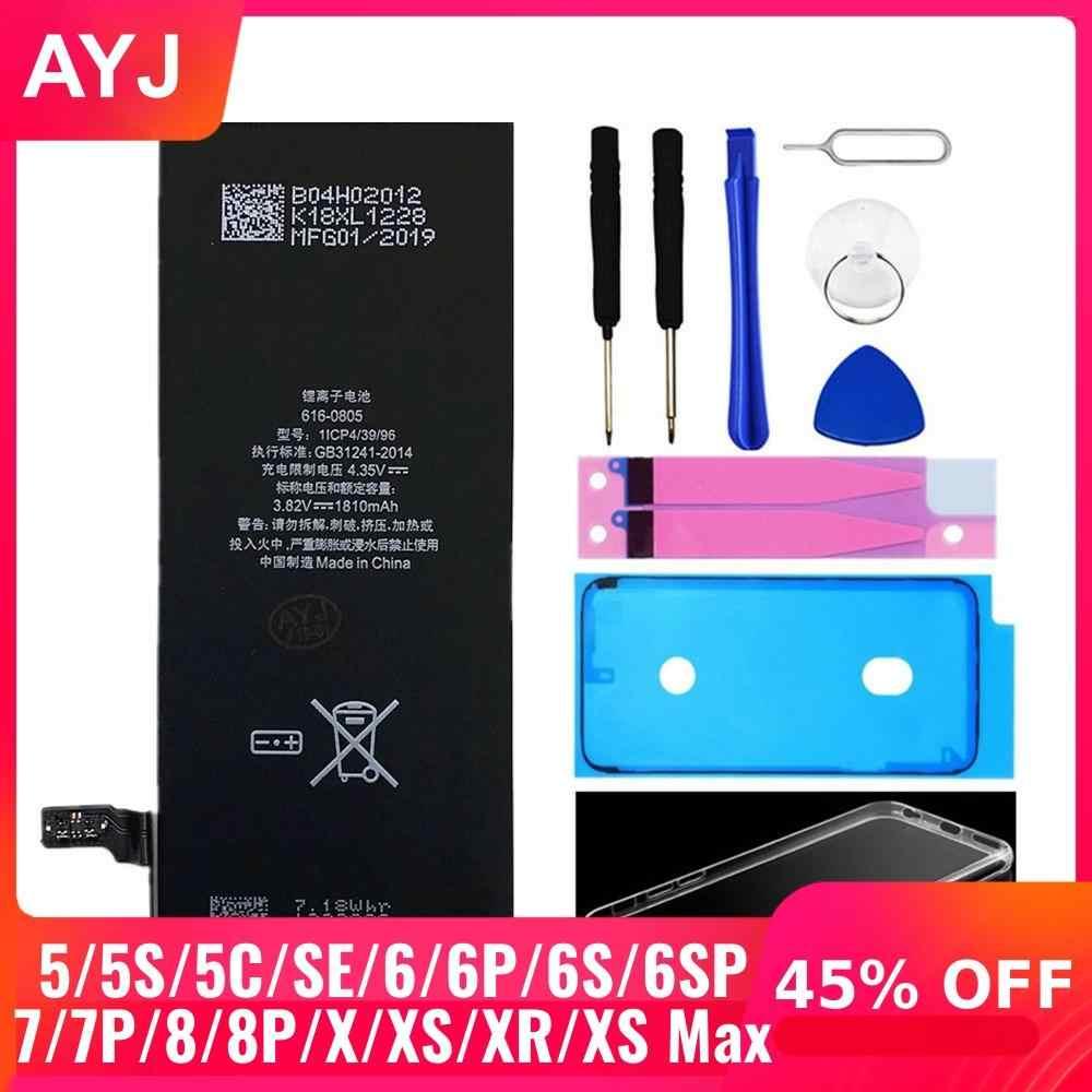 AYJยี่ห้อใหม่AAAAAคุณภาพสำหรับiPhone 6S 6 5 5S 5C X SE 7 8 PLUS XR XSสูงสูงสุดความจุจริงZERO CYCLEสติกเกอร์