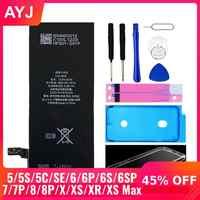 AYJ Neuf AAAAA Qualité Batterie Pour iPhone 6S 6 5S 5C X SE 7 8 Plus XR Xs Max Haute Capacité Réelle Zéro Outil De Cycle Autocollant