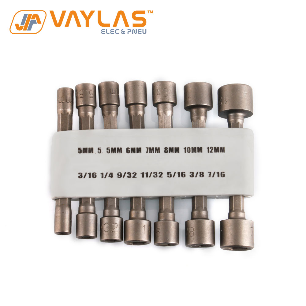 14Pcs Hex Socket Sleeve Nozzles Magnetic Nut Driver Set Drill Bit Adapter Power Tool Accessories Kit With Rubber Rack Storage