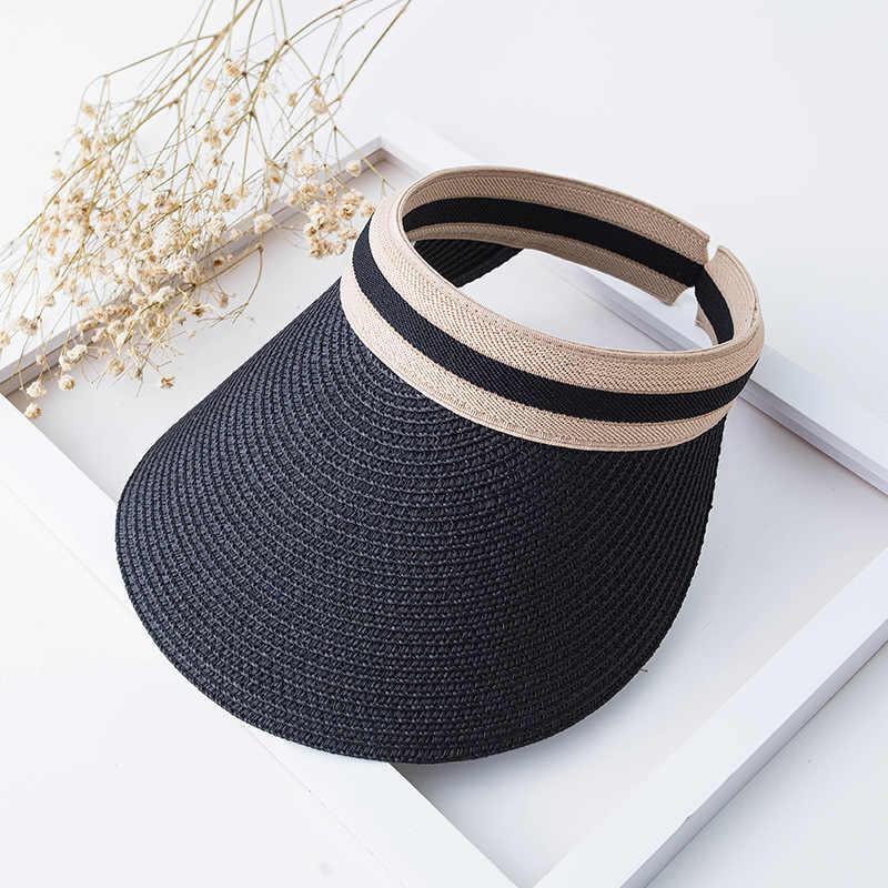 ファッションの女性の麦藁帽子女性の夏の太陽バイザー Sunhat パナマ帽フロッピーバケツキャップ女性の女性の夏帽子わらビーチ現在