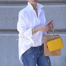 Женские рубашки 2021 Весна нагрудные V образным вырезом Повседневная блузка классический сплошной Цвет БЕЛЫЕ РУБАШКИ с длинным рукавом Женск...