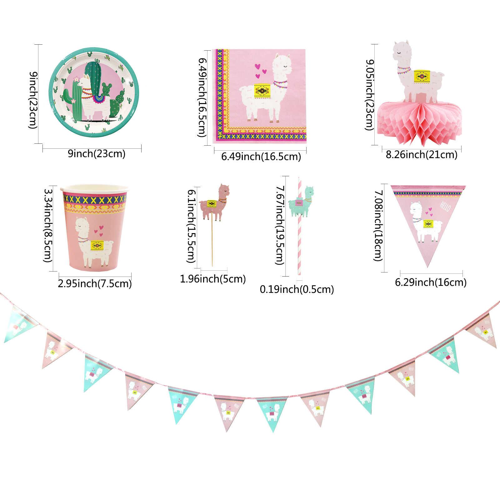 אלפקה כלי שולחן מסיבת יום הולדת דקור הלמה נייר צלחות כוסות מפיות עוגת טופר לילדים שמח מסיבת יום הולדת דקור וגינה