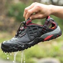 LION SCREAM Hiking Shoes Summer Men Quick Dry Waterproof Shoes Mesh Beach Outdoor Hiking Sandals Trekking Shoes Trail Footwear47 цена