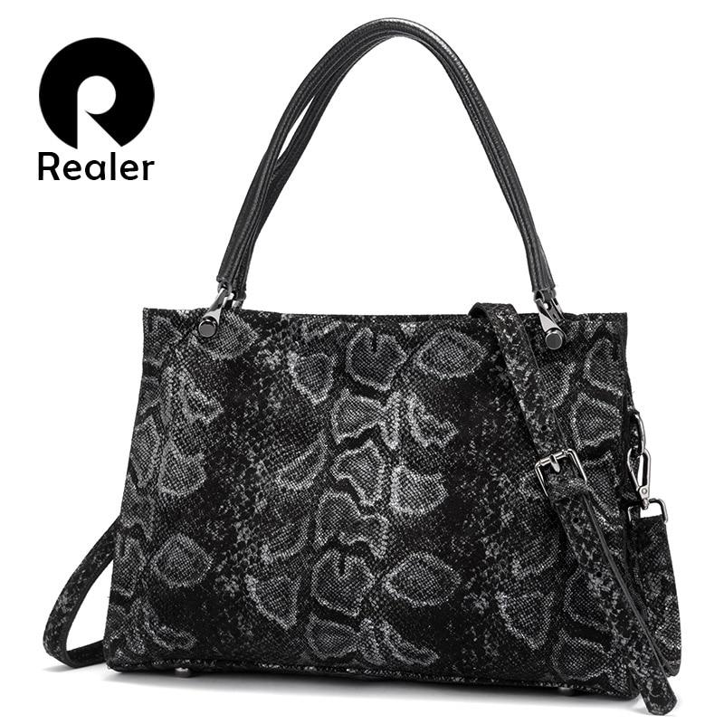 REALER genuine leather women handbags large capacity tote bags high quality female shoulder bags animal prints cross body bag