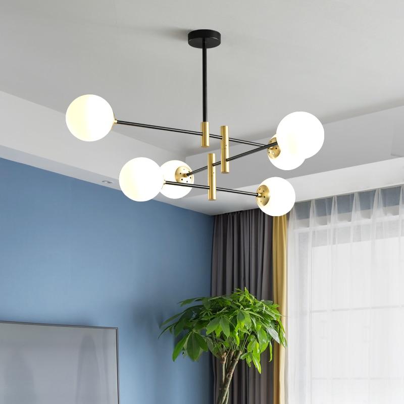 cheapest Modern creative glass ball pendant light fixture Nordic home deco dining room golden E27 LED bulb pendant lamp