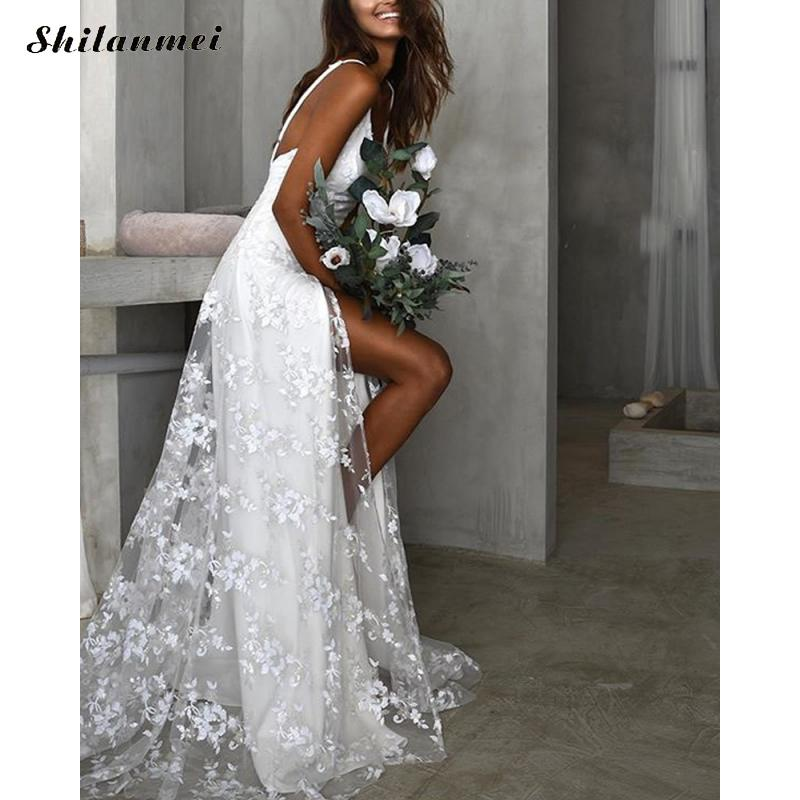 white lace evening party dress women Spaghetti Strap side slit sexy long dresses 2019 slim floor length dress wedding Vestidos in Dresses from Women 39 s Clothing