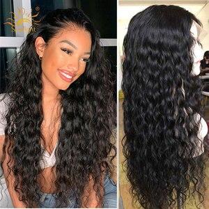 Image 2 - 150 yoğunluk Su Dalga Peruk Tutkalsız Dantel Ön İnsan saçı peruk Ön Siyah Kadın Güneş Işığı Için koparıp Derin Kısım Remy Brezilyalı Peruk