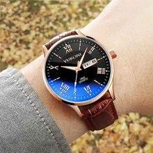 Fashion Brown Leather reloj hombre Men Watch Casual Luxury Waterproof Men Sports Wrist Watch Quartz Wristwatch Relogio Masculino