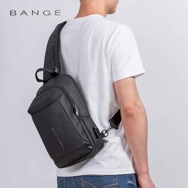 Bange New Multifunction USB Recharge Crossbody Bag for Men Shoulder Messenger Bags Male Waterproof Short Trip Chest Bag Pack 4