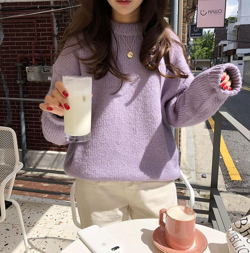 New Blue Winter Sweater Women Pullover Girls Tops Vintage Purple  Autumn Elegant Female Knitted Outerwear Warm Sweater Oversize