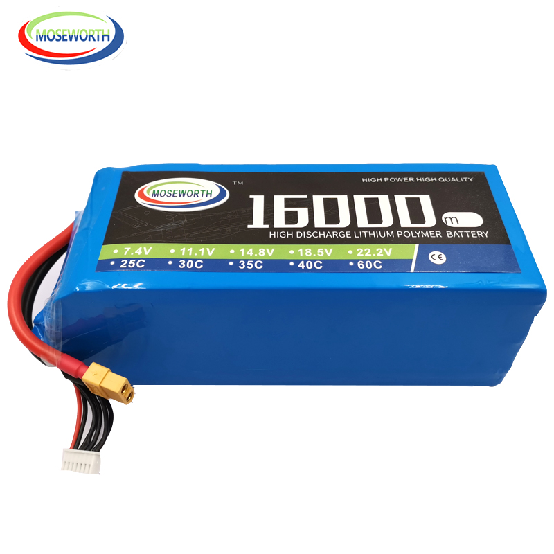 RC LiPo Battery 6S 22.2V 16000mAh 25C For RC Helicopter Drone Quadcopter Airplane Car Boat Truck 16A Batteries LiPo 6S RC AKKU
