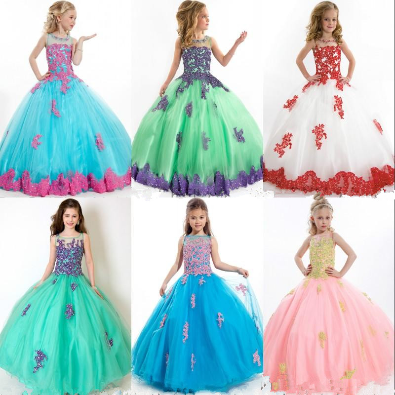 Fashion 2020 Flower Girl Dresses Ball Gown Beads Lace Tulle Floor Length Kid Pageant Gowns for girls