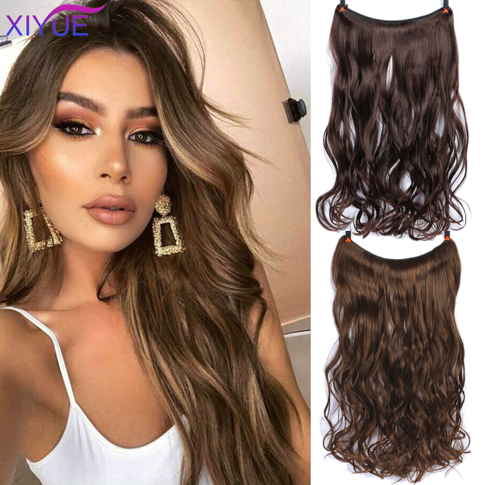 Women Invisible Fish Line Synthetic Hair Extensions Long Natural Straight Hair Heat-Resistant Fiber Synthetic Hairpiece 22Inches