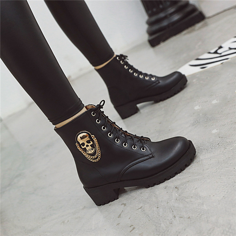 White Black Woman Boots Chunky Heel Lace Up Heels Motorcycle Punk Gothic Ankle Boots Winter Womens Goth Shoes Winter