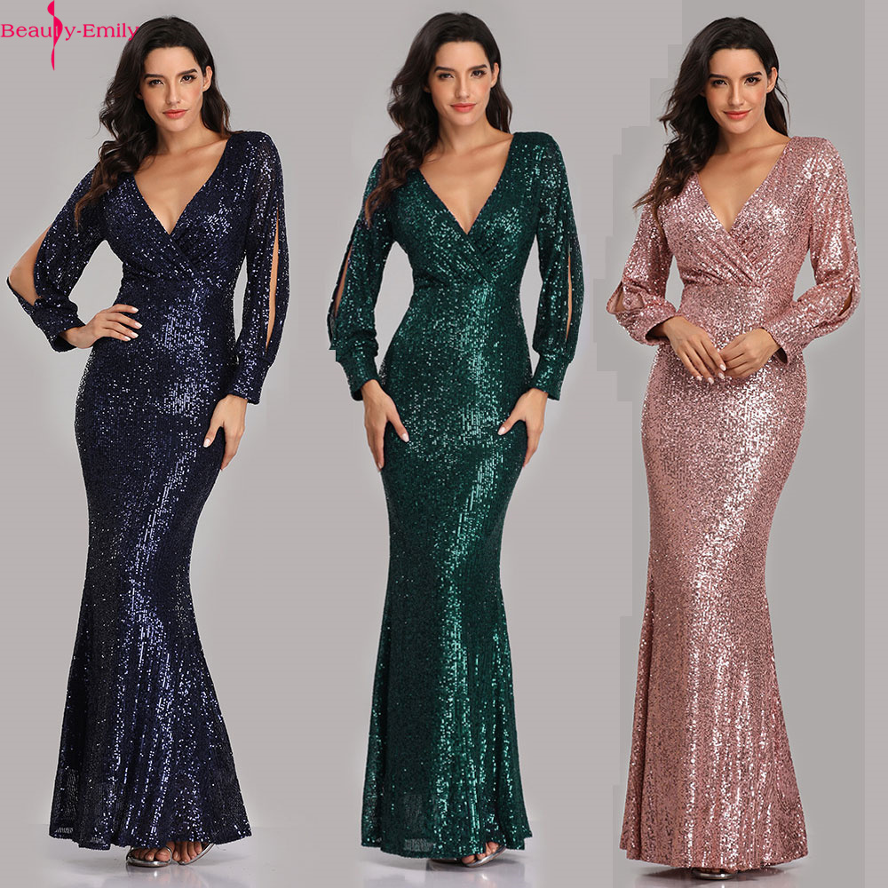 Beauty-Emily Sexy V Neck Sequins   Evening     Dresses   Long Sleeve Floor Length Mermaid Formal Party   Dress   Prom Gowns Vestido de noche