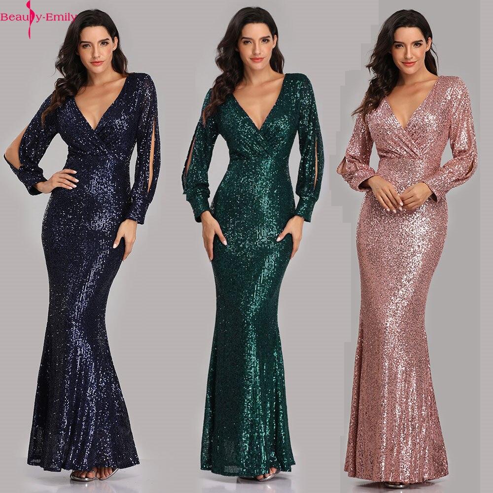 Beauty Emily, сексуальные вечерние платья с v образным вырезом, с блестками, с длинным рукавом, длина до пола, Русалка, официальное вечернее платье, платья для выпускного вечера, Vestido de noche