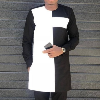 African Fashion For Man Shirt O-neck Tops Dashiki Shirt Long Sleeve Men's Outfit Patchwork Black/white Mix 2019 spring new women half sleeve loose flavour black dress long summer vestido korean fashion outfit o neck big sale costume