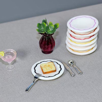 1 Set Durable Mini Food Dishes Tableware Miniature Doll House Accessories Dollhouse Trays Plates Doll Tableware 1