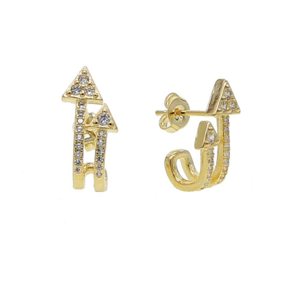 Doppel pfeil cz stud ohrring gold gefüllt weiß regenbogen cz mode einfache frauen mädchen schmuck