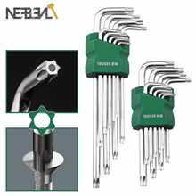 9PCS L Type Double End Allen Hex Key Metric British Hexagon Wrench Set T10 T1 T20 T25 T27 T30 T40 T45T50 Hand Tools