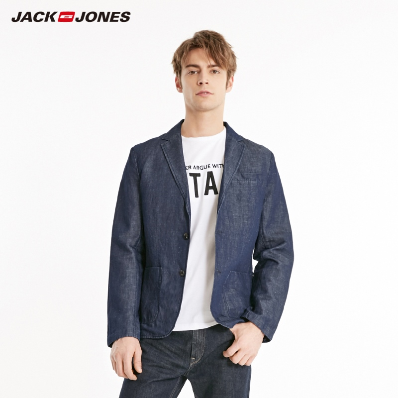 JackJones Men's Pure Color Cotton Linen Straight Fit Blazer|Basic 219108516