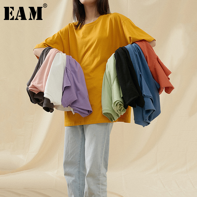 [EAM] Women Multicolor Purple Yellow Brief Big Size T-shirt New Round Neck Half Sleeve Fashion Tide  Spring Summer 2020 1T598