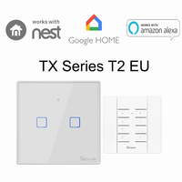 Sonoff T2 EU 2 Gang WiFi Muur Lichtschakelaar RF/APP/Touch Timer Panel IOS Android Remote OP /OFF Smart Home AutomationVoice Controle