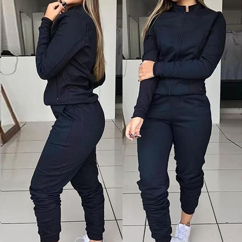 Sfit Women 2 Piece Running Sports Set Sexy Bodycon Tracksuit Full Sleeve Hoodies Pullover Top Pants Suits Casual Clothes Outfits