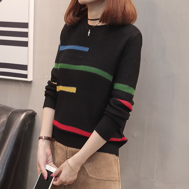 Sweater Women's Loose-Fit Short 2019 Spring Clothing New Style Pullover Sweater Women's Korean-style Fashion Long Sleeve Base Sh