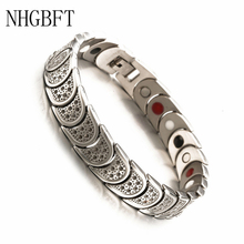 NHGBFT Four In One Stainless Steel Energy Bracelet For Women Mens Germanium Magnet health care
