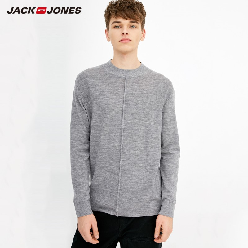 JackJones Men's Solid Colour 100% Wool Fabric Smart Casual Sweater 218324501