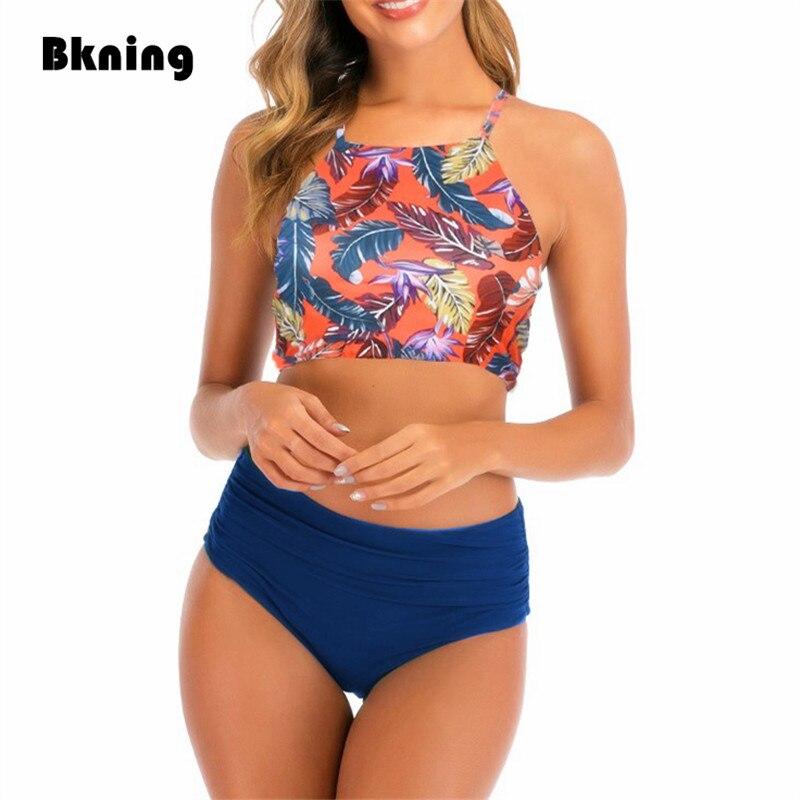Bknin High Waist High Neck Bikini Push Up Bandeau Bikini Set Push-up Brazilian Swimwear Palm Leaf Print Bandage String Swim Wear