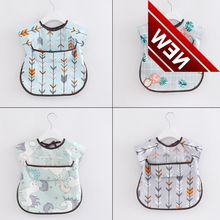 New Cute Baby Bibs Waterproof Long Sleeve Apron Children Feeding Smock Bib Burp Clothes Soft Eat Toddler Clothing цена