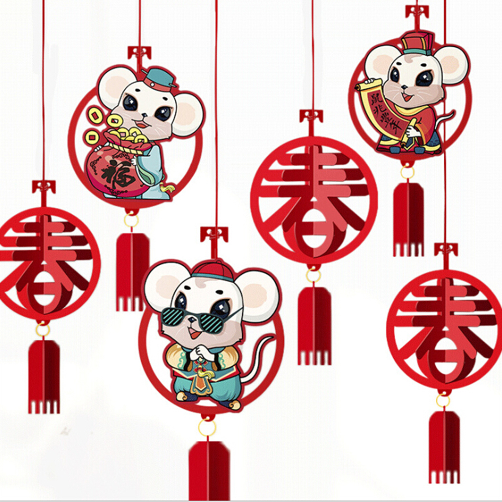 6Pcs Zodiac Hang Chinese New Year's Pendant Luck Fortune Decoration Chinese New Year Spring Festival Decor